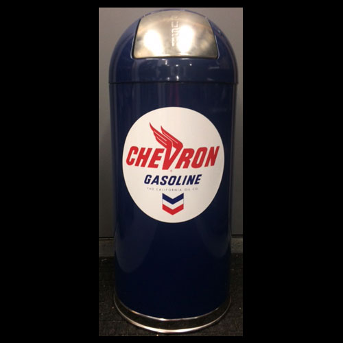 Blue Retro Style Trash Can - Chevron Gasoline