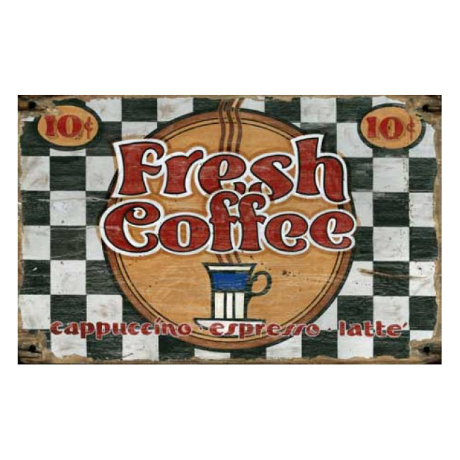 Fresh Coffee Rustic Wood Coffee Shop Sign