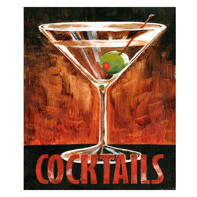 Martini Cocktail Rustic Wood Sign
