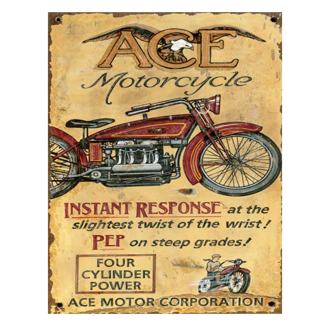 Ace Motorcycle Vintage Wood Sign