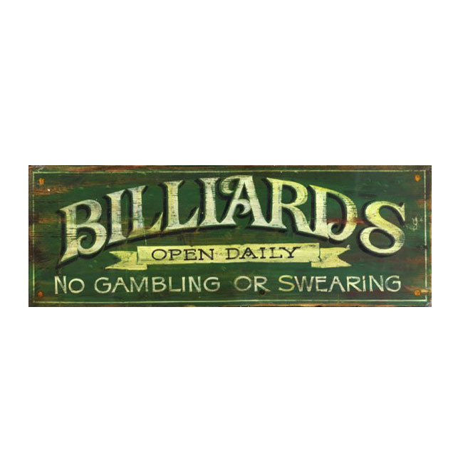 Billiards Vintage Wood Sign
