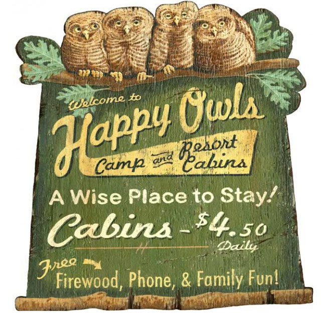 Happy Owls Camp and Cabins Sign