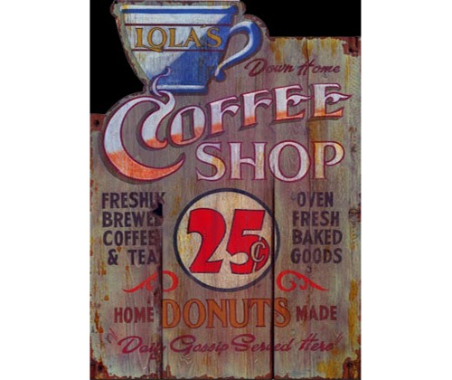 Coffee Shop Rustic Wood Sign