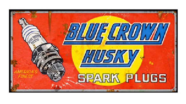 Blue Crown Husky Spark Plugs Vintage Sign