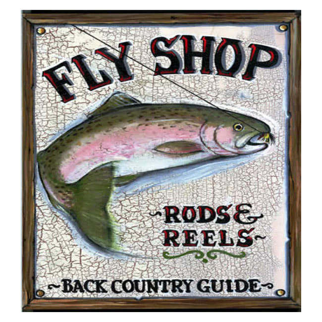 Fly Shop Wooden Sign