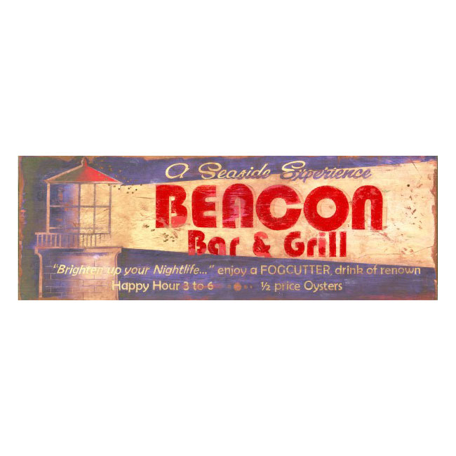 Beacon Bar & Grill Wood Sign
