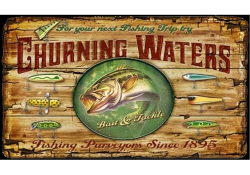 Fishing Trip Churning Waters Wooden Sign