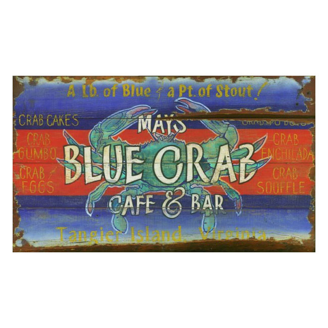 Blue Crab Cafe & Bar Wood Sign