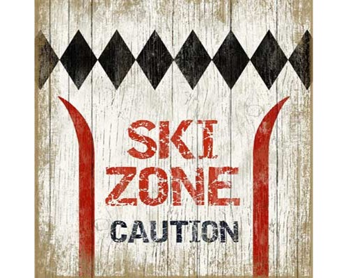 Caution Ski Zone Wood Sign