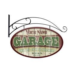 Vintage Garage Personalized Double Sided Sign