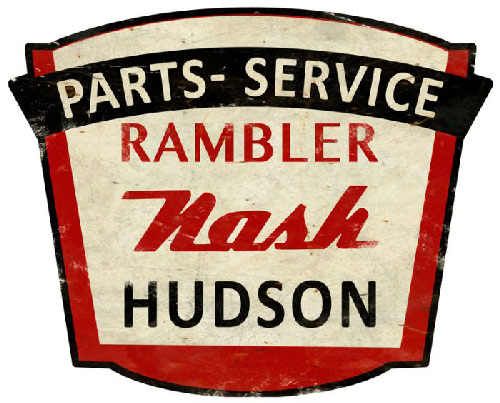 Rambler Nash Hudson Parts & Service Sign