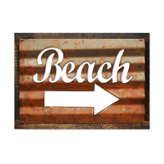 Corrugated Beach Wood Sign