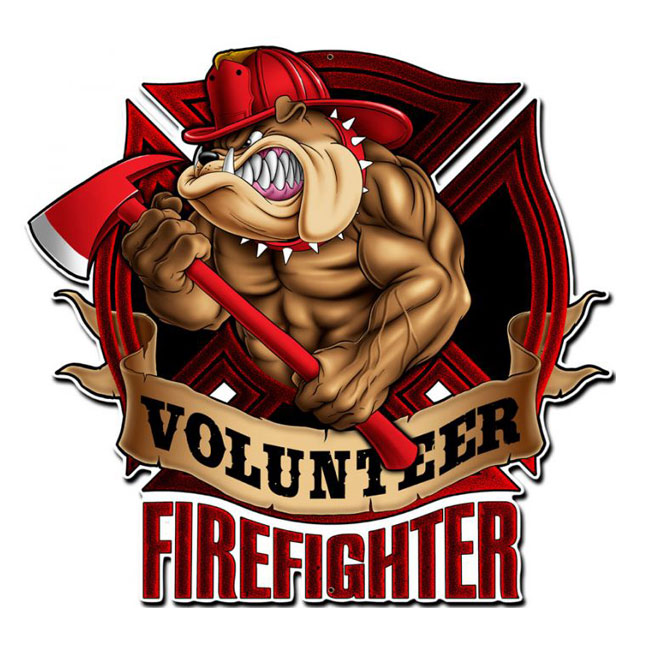 Firefighter Bull Dog Sign