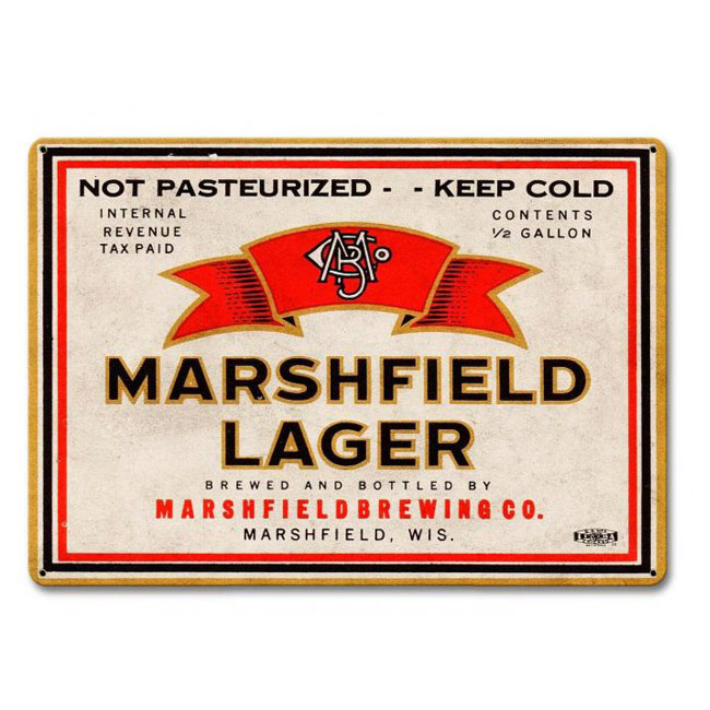 Marshfield Lager Beer Sign