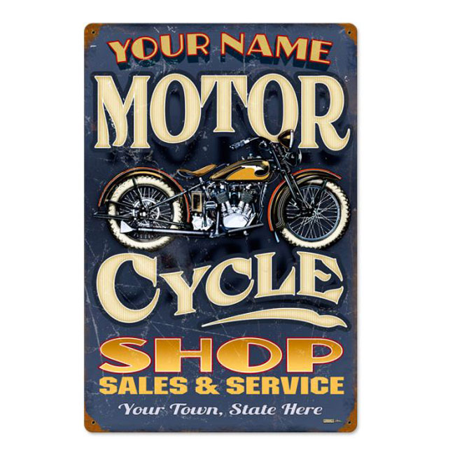 Motorcycle Shop Personalized Sign
