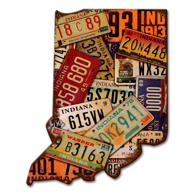 Indiana License Plate Sign