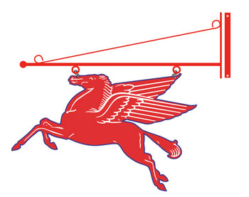 Mobil Pegasus Flying Red Horse Sign - Double Sided