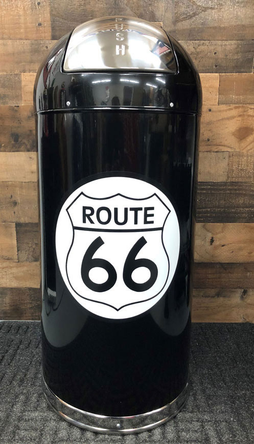 Retro Trash Can With Route 66 Graphics