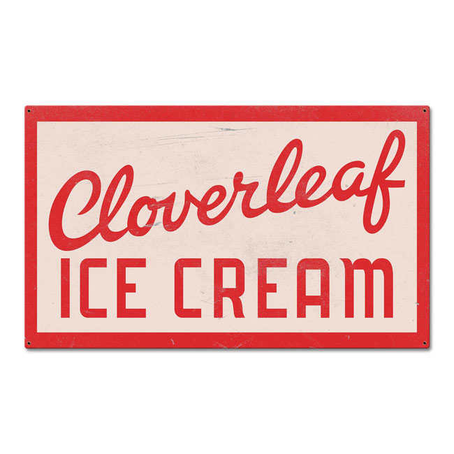 Cloverleaf Ice Cream Vintage Sign